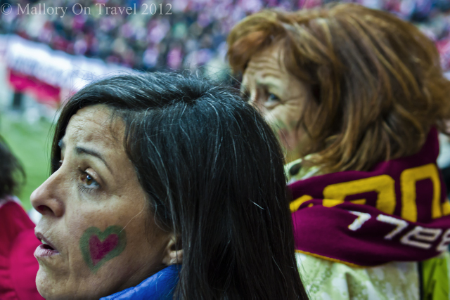 International Women's Day; Passionate Portuguese football supporters in the National Football Stadium, Warsaw, Poland on Mallory on Travel, adventure, adventure travel, photography Iain Mallory-300-50-1 portuguese_ladies;jpg