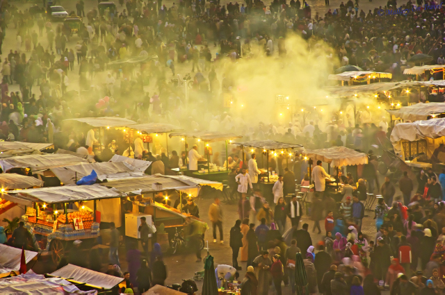 Comfort zones; The lively Djemaa el Fna square in the central medina of Marrakech in the North African country of Morocco on Mallory on Travel, adventure, adventure travel, photography Iain_Mallory_00997-1
