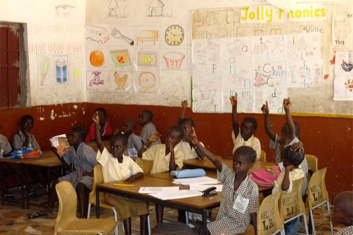 Schoolchildren in a local school project in The Gambia on the African country on Mallory on Travel, adventure, adventure travel, photography