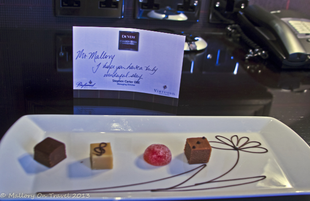 Room welcome in the Cameron House hotel, Loch Lomond in Glasgow, Scotland on Mallory on Travel, adventure, adventure travel, photography Iain Mallory-300-2 welcome_chocolates