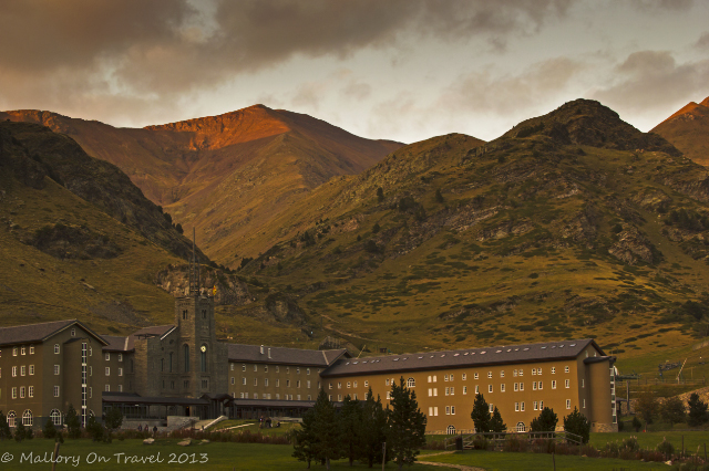 The hotel and hills of the Núria Valley and santuary in Catalonia, Spain on Mallory on Travel, adventure, adventure travel, photography Iain Mallory-300 nuria_valley