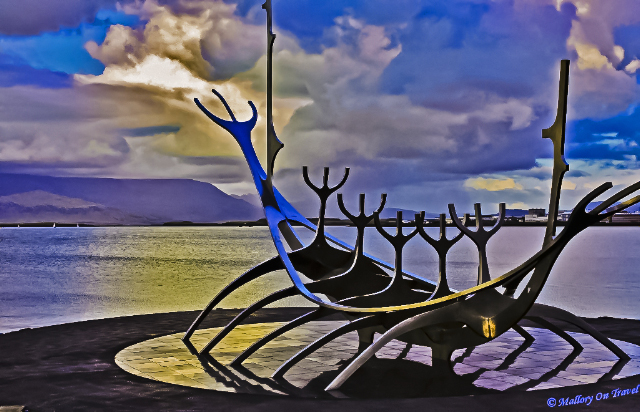 The viking ship sculpture in the harbour of Reykjavik, capital of Iceland on Mallory on Travel, adventure, adventure travel, photography