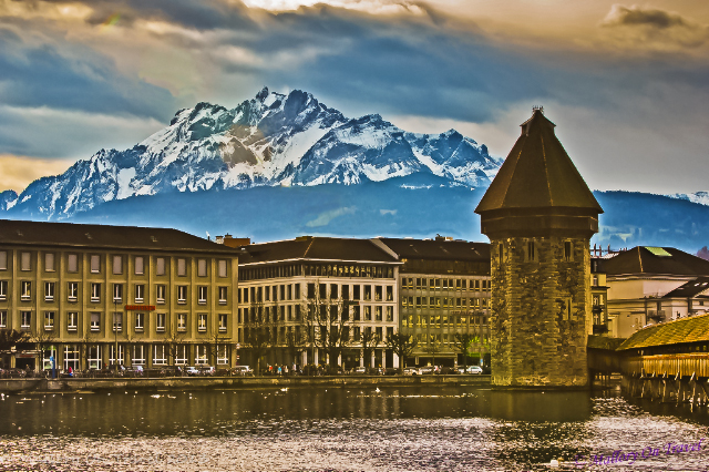 The watertower and Mount Pilatus in Lucerne in the Bernese Alps, Switzerland on Mallory on Travel, adventure, adventure travel, photography Iain Mallory-300 lucerne_watertower