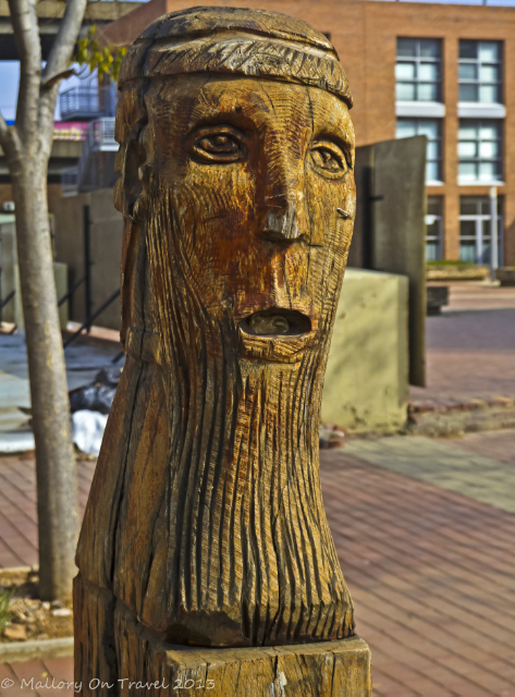 Wooden sculpture in cultural precinct of Newtown, Johannesburg, South Africa on Mallory on Travel, adventure, adventure travel, photography Iain Mallory-300-15