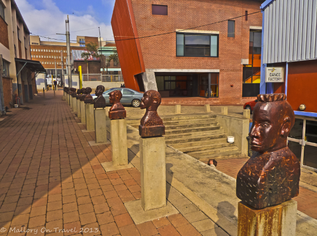Wooden sculptures in cultural precinct of Newtown, Johannesburg, South Africa on Mallory on Travel, adventure, adventure travel, photography Iain Mallory-300-21