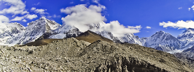 Trekking in Nepal; A panoramic of some Himalayan giants in the Khumbu region on Mallory on Travel, adventure, adventure travel, photography