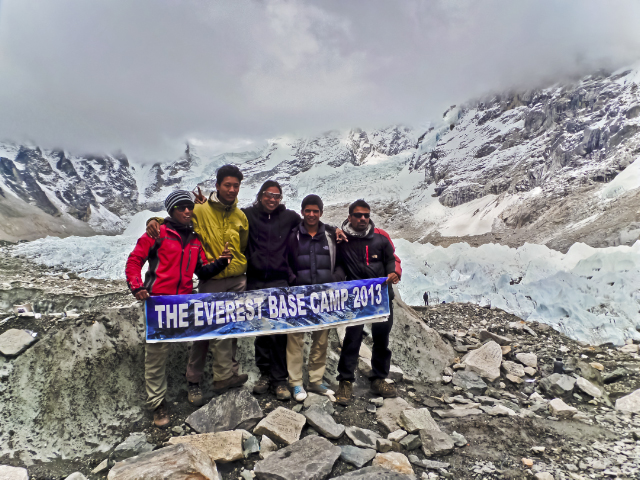 Trekking in Nepal; Sherpa guides at Everest Base Camp and the Khumbu glacier in the Himalaya on Mallory on Travel, adventure, adventure travel, photography