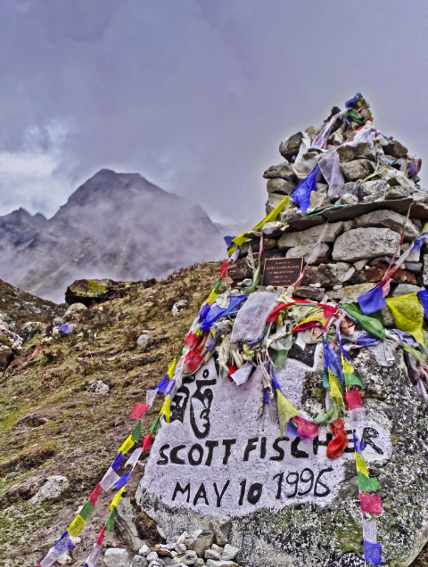 The Scott Fischer memorial on the way to Everest Base Camp in the Khumbu region of Nepal in the Himalaya on Mallory on Travel, adventure, adventure travel, photography