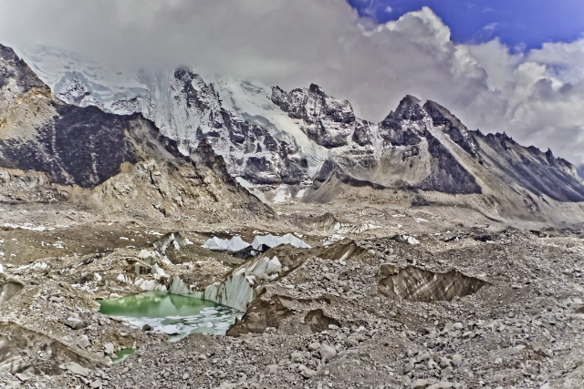 Base camp trekking; Glacial pool near Mount Everest base camp in the Khumbu region of the Himalaya adventure, adventure travel, photography on Mallory on Travel