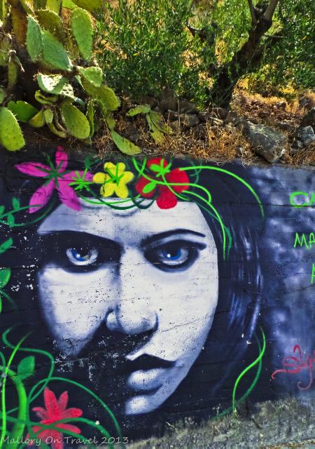 Street art gallery by Kostas Louzis aka Skitsofrenis on the Sparta to Kalamarta road in the Peloponnese, Greece on Mallory on Travel adventure, adventure travel, photography Iain Mallory-300-43