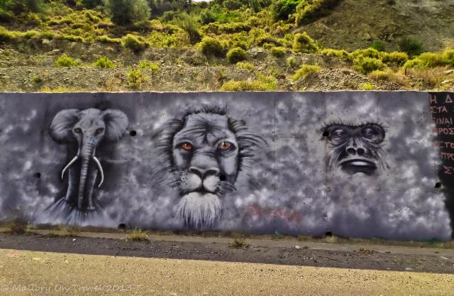 Street art gallery by Kostas Louzis aka Skitsofrenis on the Sparta to Kalamarta road in the Peloponnese, Greece on Mallory on Travel adventure, adventure travel, photography Iain Mallory-300-52