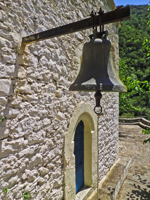 Bell at the Moni Sotiros in the Viros Gorge near Kardamili in the Peloponnese, Greece on Mallory on Travel adventure, adventure travel, photography Iain Mallory-300-7