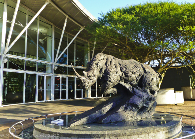 Rhino statue outside the International Conference Centre in Durban, South Africa on Mallory on Travel adventure, adventure travel, photography Iain Mallory-300-26-1_icc_durban