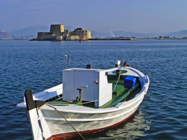 Bourtzi fort in the harbour of Nafplio on the Peloponnese Peninisula, Greece on Mallory on Travel adventure, adventure travel, photography Iain Mallory-300-65_nafplio