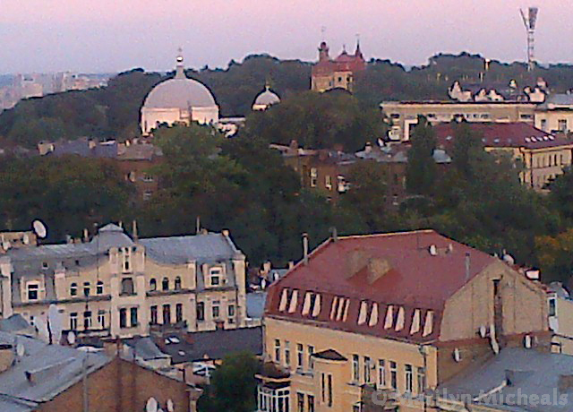 View from the terrace bar of Hyatt Regency Hotel, in Kiev, capital city of the Ukraine on Mallory on Travel adventure, adventure travel, photography the