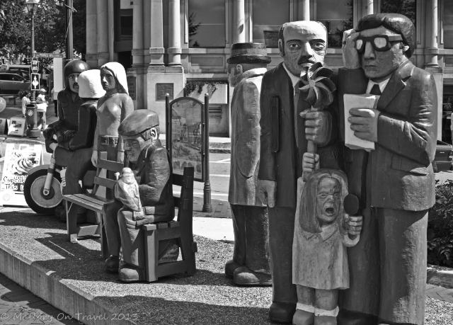 Digital photography; Street sculptures in St John, New Brunswick, Canada on Mallory on Travel adventure, adventure travel, photography Iain Mallory-300-186BW_street_sculptures