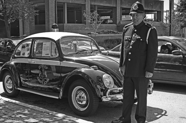 Policeman and vehicle at the police museum in St John, New Brunswick, Canada on Mallory on Travel adventure, adventure travel, photography Iain Mallory-300-187BW_vw_beetle