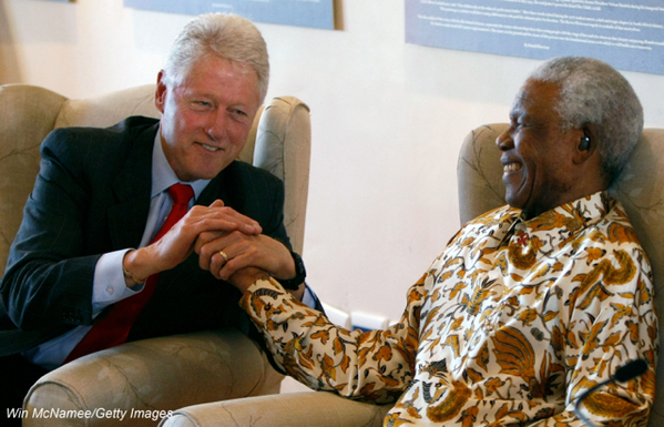 President Bill Clinton and Nelson Mandela, political activist and president of South Africa on Mallory on Travel adventure, adventure travel, photography