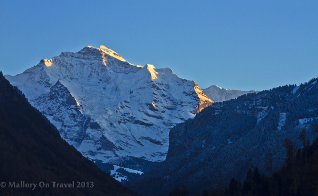 Sunset over the Jungfrau in the Bernese Alps, from Interlaken. Switzerland on Mallory on Travel adventure, adventure travel, photography Iain Mallory-300-2 the_jungfrau