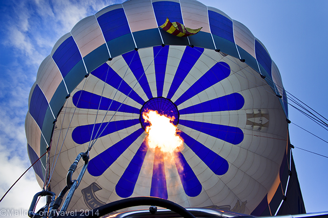 Fully inflated hot air balloon, La Garrotxa region of the Catalan Pyrenees on Mallory on Travel adventure, adventure travel, photography