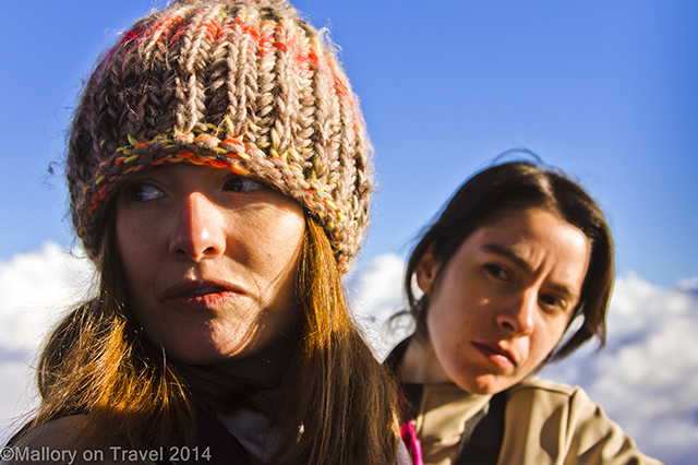 Girls looking concerned on a hot air balloon flight in La Garrotxa, Catalonia, Spain on Mallory on Travel adventure, adventure travel, photography Iain Mallory-300-45