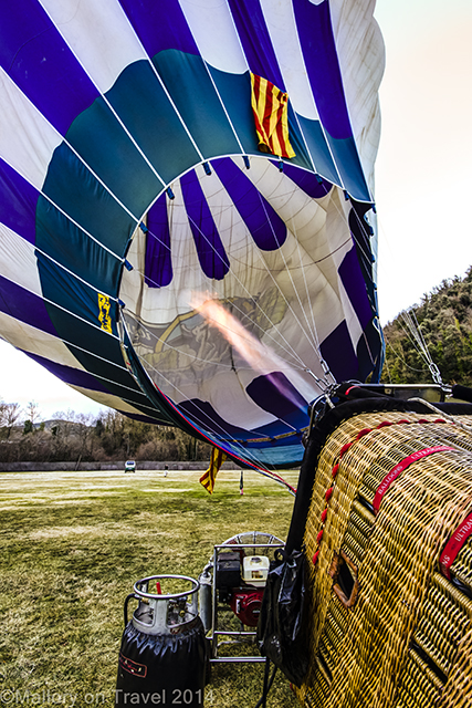 Hot air balloon being inflated in the La Garrotxa region of the Catalan Pyrenees on Mallory on Travel adventure, adventure travel, photography Iain Mallory-300 ballooning_spain