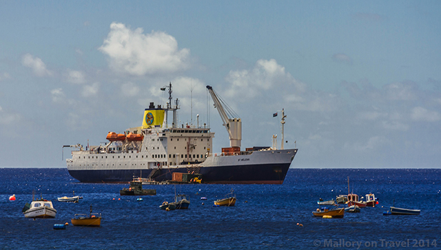 The RMS St Helena anchored off Jamestown, St Helena, in the South Atlantic on Mallory on Travel adventure, adventure travel, photography Iain Mallory-300-12 rms_sthelena