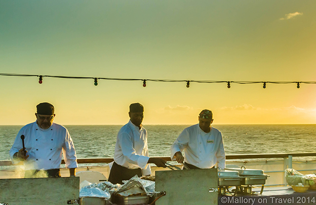 RMS St Helena chefs preparing a barbecue and buffet on the sun deck of the RMS St Helena on Mallory on Travel adventure, adventure travel, photography Iain Mallory-300-14 ship_chefs