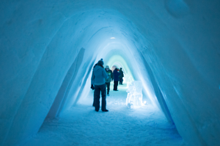 Main corridor in the Kirkenes snow hotel in Hurtigruten, northern Norway on Mallory on Travel adventure, adventure travel, photography