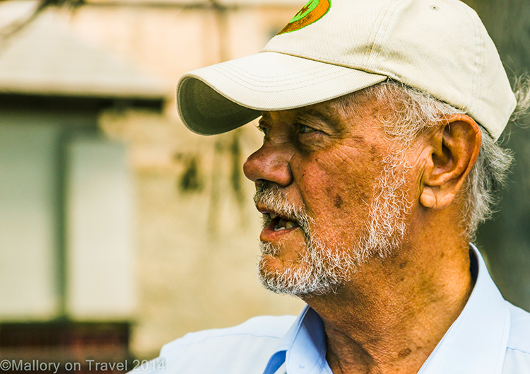 Tour guide in Jamestown, capital of St Helena in the South Atlantic on Mallory on Travel adventure, adventure travel, photography Iain Mallory-30 basil