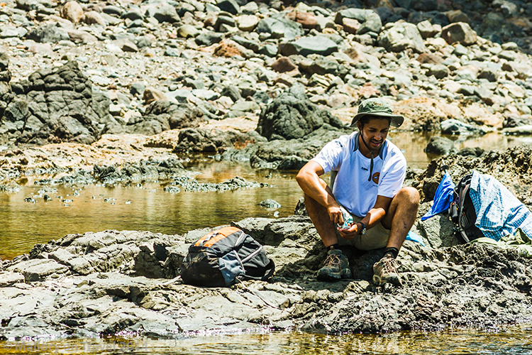 Tour guide at Lot's Wife Pond on the remote South Atlantic island of St Helena on Mallory on Travel adventure, adventure travel, photography Iain Mallory-300-171 lots_wife_pond