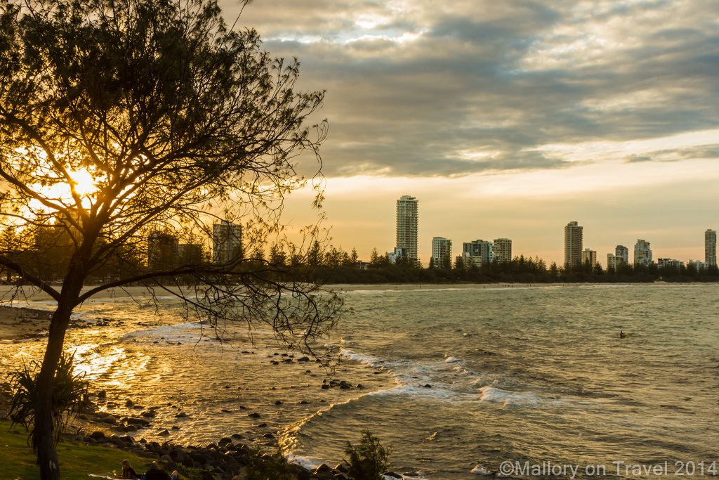 Sunset and surfers on the Gold Coast, Queensland in Australia from Burleigh Head on Mallory on Travel adventure, adventure travel, photography Iain Mallory-300-9 (2) waiting_surfer