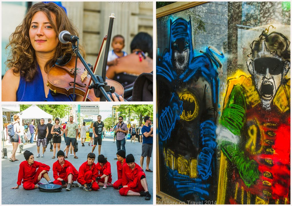 Street performers and streetart at the Montreal mural festival of street art, the creative streets of the Quebec province city, Canada on Mallory on Travel adventure, adventure travel, photography Iain Mallory Montreal Montage-1