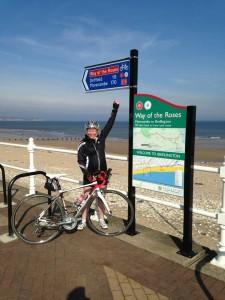 Alison Bailey finishing the coast to coast bike ride on Mallory on Travel adventure, adventure travel, photography