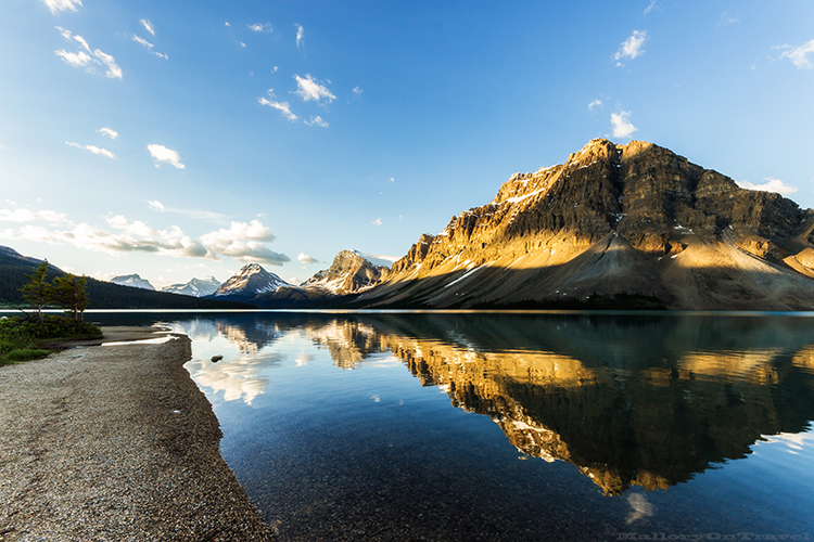 Reflections in of the Canadian Rockies along the shores of Bow Lake near Lake Louise, Alberta, Canada on Mallory on Travel adventure, adventure travel, photography Iain_Mallory_Can1401205 bow_lake