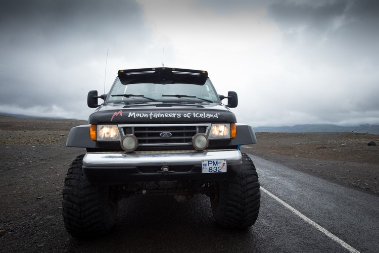 Typical Icelandic transport, a monster truck on the North Atlantic Arctic island on Mallory on Travel adventure, adventure travel, photography