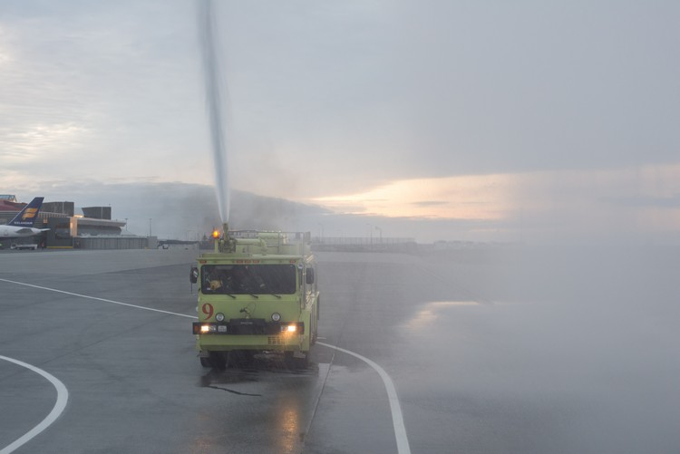 Arriving at Keflavik International Airport, Reykjavik, Iceland on the inaugural Flybe flight from Birmingham  to be welcomed by water spraying fire engines on Mallory on Travel adventure, adventure travel, photography