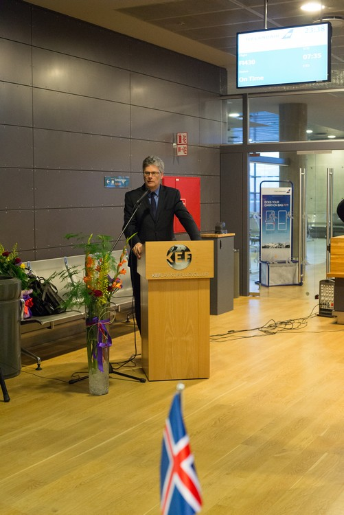 His Excellency Mr Stuart Gill, UK Ambassador to Iceland welcoming the inaugural Flybe Birmingham to Reykjavik flight on Mallory on Travel adventure, adventure travel, photography uk_ambassador