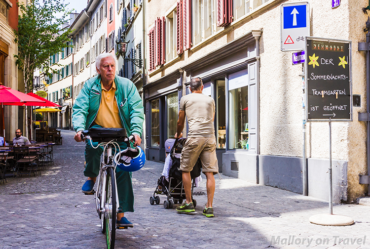 Cycling on the streets of the Swiss city of Zurich on Mallory on Travel adventure, adventure travel, photography Iain Mallory-300-26 zurich_cyclist