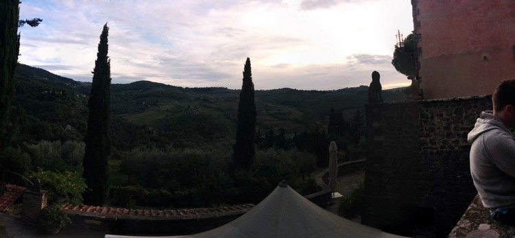 Panoramic photograph of a village in Tuscany, Italy taken on a Google Nexus 5 smartphone using the standard Android app, and edited with the included software, suitable for posting to social media like Twitter, Facebook or Instagram on Mallory on Travel adventure, adventure travel, photography