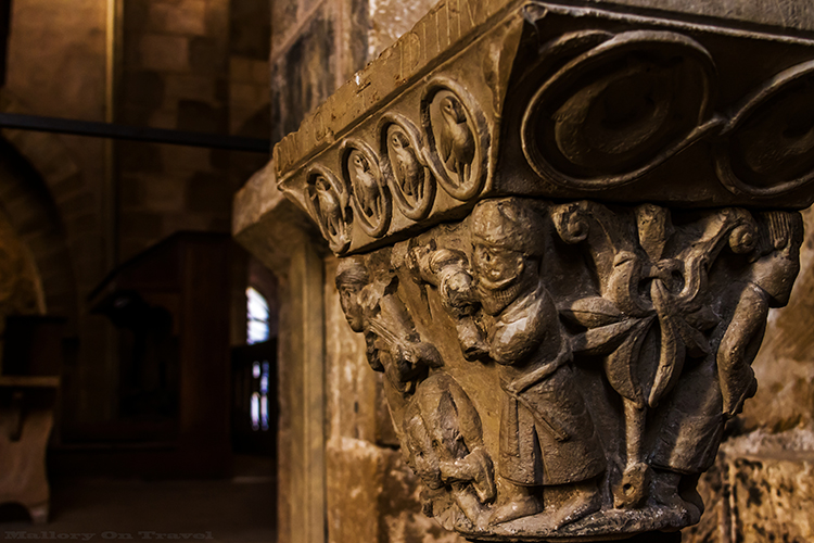 Carvings in Saint Foy Abbey, Conques near Villefranche de Rouergue on the Saint-Jacques-de-Composte, or Santiago de Compostela and trekkers on the Via Podiensis, GR 65 in the Aveyron region of the South of France on Mallory on Travel adventure, adventure travel, photography Iain_Mallory_Ave1403540 saint_foy
