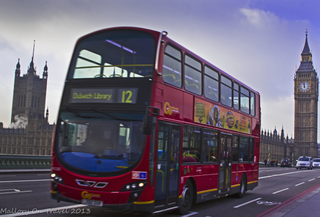 Budget travel - taking a famous London red bus on Mallory on Travel adventure travel, photography, travel