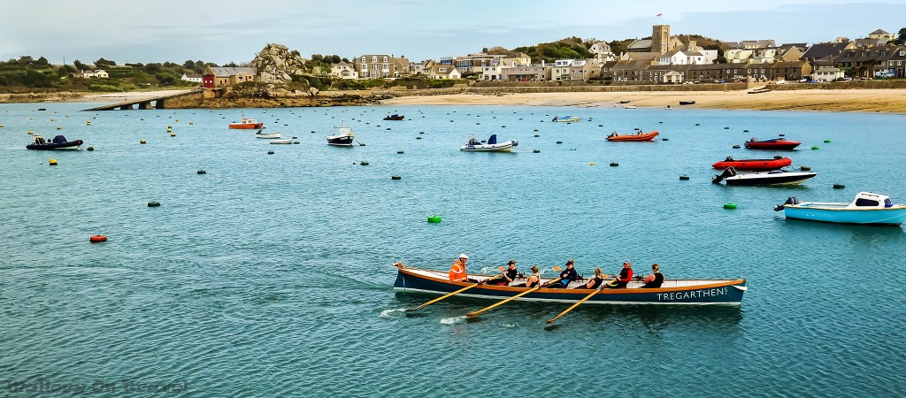 Tregarthens hotel ladies gig racing team in the harbour of Hugh Town, St Mary's in the Isles on Mallory on Travel adventure travel, photography, travel Scilly Isles-450