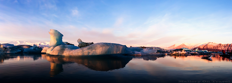 Photography tips; a panorama of Jökulsárlón glacier lagoon, Iceland on Mallory on Travel adventure travel, photography, travel Iain_Mallory_ICE1407759