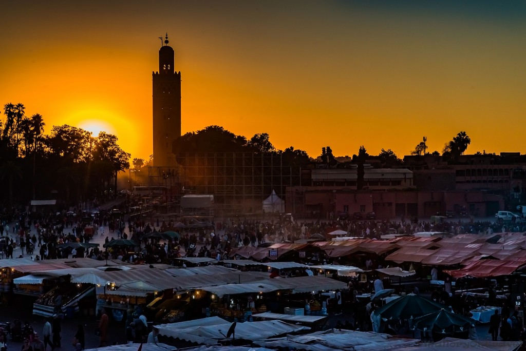 Djemaa-el-Fna at sunset in the Medina of Marrakech, Morocco in North Africa on Mallory on Travel adventure travel, photography, travel Iain_Mallory_Mor15790
