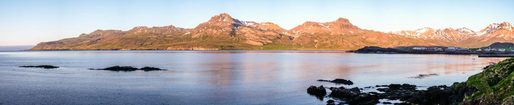 Panoramic view of the fjord of Bakkargerdi, Borgarfjordur eystri in East Iceland on Mallory on Travel adventure travel, photography, travel Iain Mallory_Iceland6141-Pano