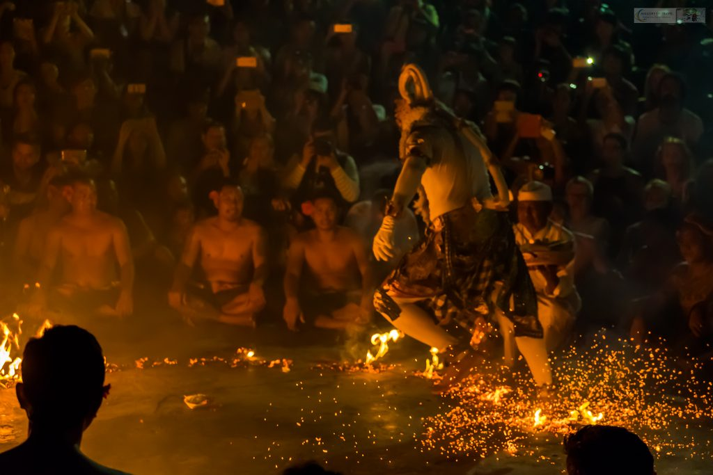The finale of the fiery Fire Dance Performance in Uluwatu Temple on the shores of the Indian Ocean, Balie, Indonesia on Mallory on Travel adventure travel, photography, travel iain-mallory_indo-1-331