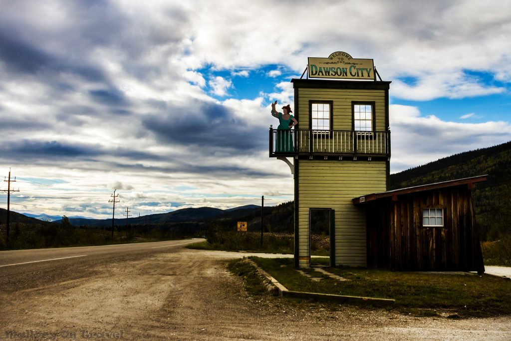 The greeting sign on arrival at Dawson City in the Klondike, The Yukon, Canada on Mallory on Travel adventure travel, photography, travel iain-mallory-yukon2398