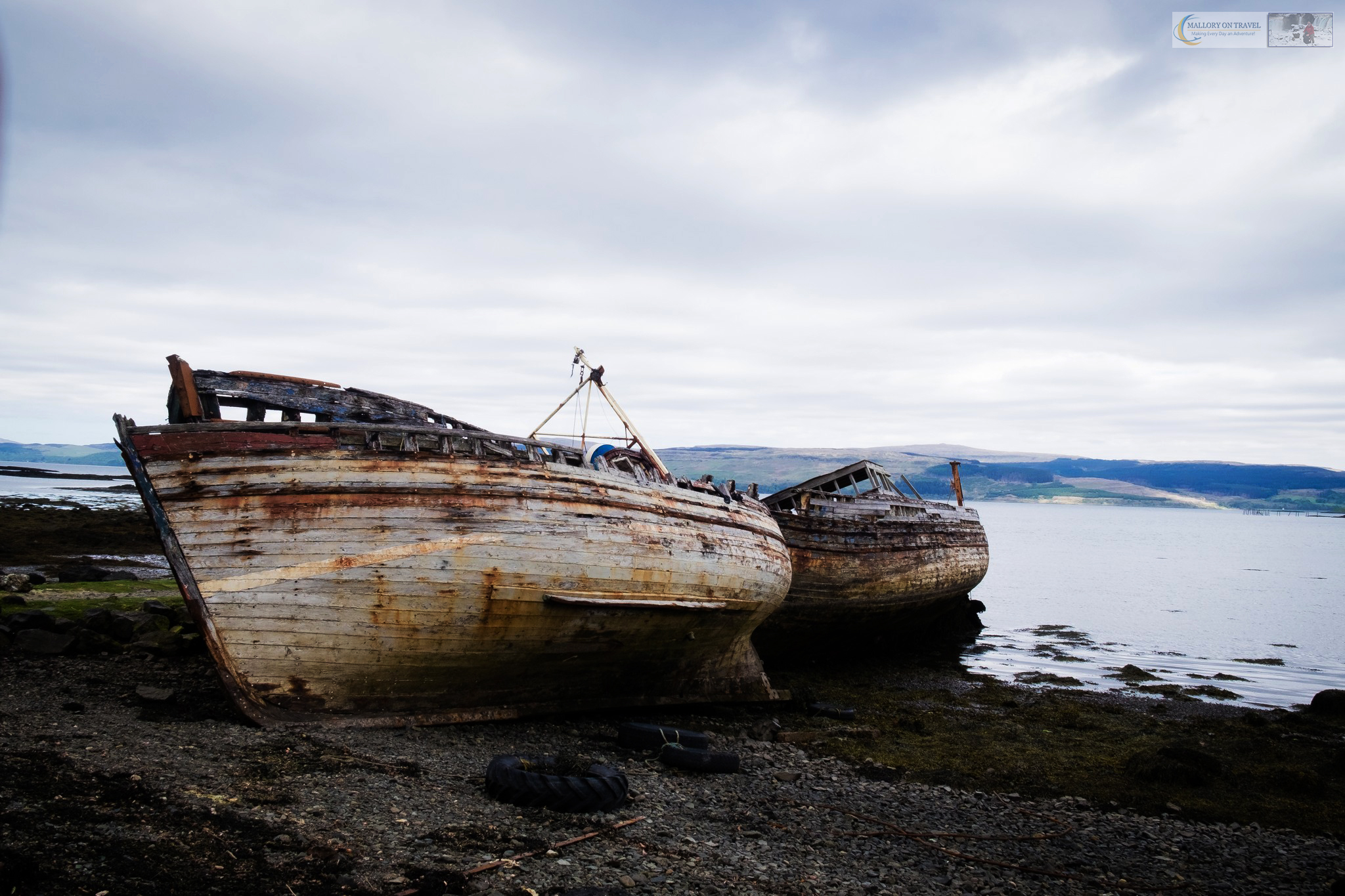 Stranded and deserted hulls of boats on the Isle of Mull, the Inner Hebrides in the SCottish highlands and islands on Mallory on Travel adventure travel, photography, travel iain-mallory_scotland3647