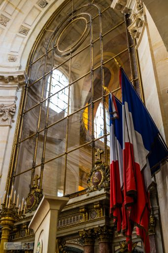 French flags in the Dome des Invalides at the Musée de l'Armée, in the Hotel des Invalides, Paris in France on Mallory on Travel adventure travel, photography, travel iain_mallory_musee-3496